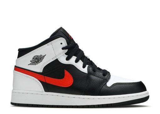 Nike Air Jordan 1 Mid White Black Chile Red (GS)