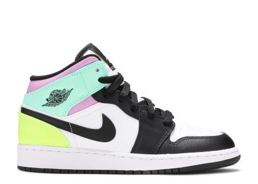 Nike Air Jordan 1 Mid Pastel Black Toe (GS) 554725-175
